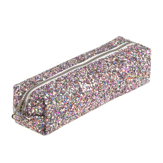 Girls' glitter pencil case