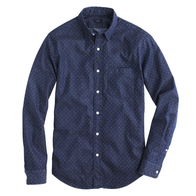 Tall denim shirt in triple dot
