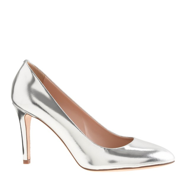 Sloane mirror metallic pumps