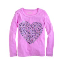 Girls' long-sleeve confetti sequin heart tee