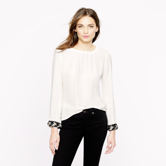 Collection beaded-cuff blouse
