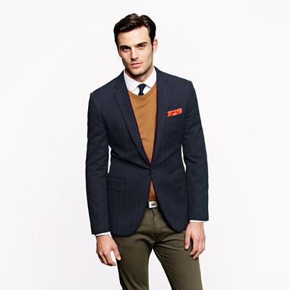 Single-button Ludlow blazer in herringbone Italian pima cotton