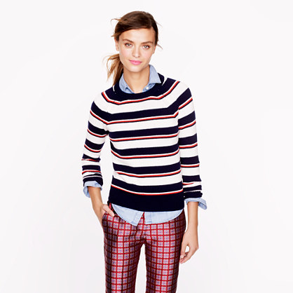 Collection cashmere shrunken stripe sweater