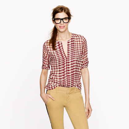 Pleated chiffon blouse in gingham