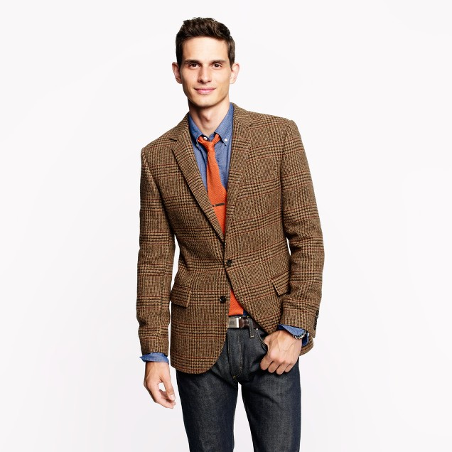 Ludlow sportcoat in brown glen plaid English wool