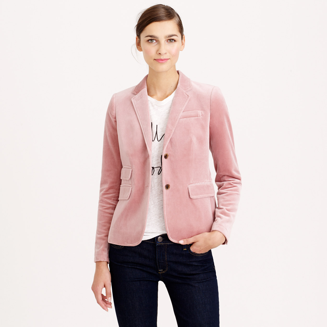 To get the most mileage out of Sara Battaglia's baby-pink blazer, wear yours with a graphic tee, denim and pointed pumps – an outfit that works whether you're in or out of office.
