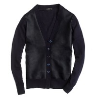 Collection leather-front merino cardigan