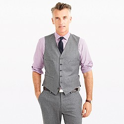 Ludlow suit vest in heathered Italian wool flannel
