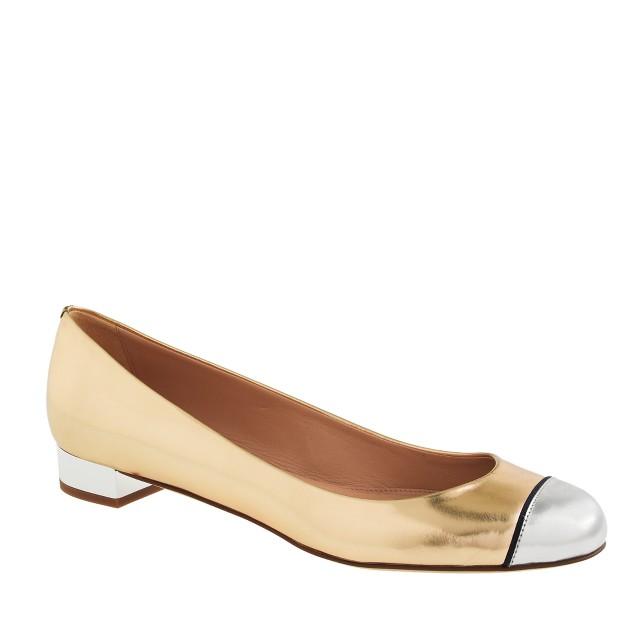 Janey metallic cap toe flats
