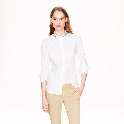 Jeweled-collar boy blouse