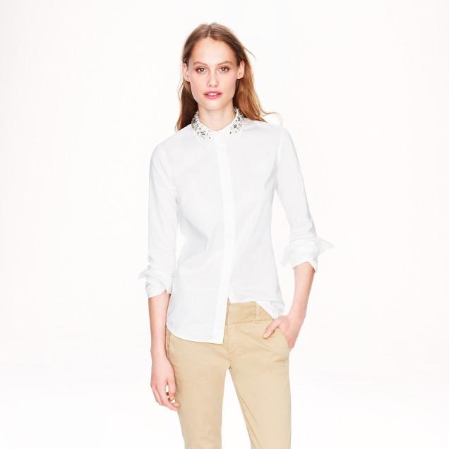 Jeweled-collar boy blouse