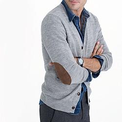 Rustic merino elbow-patch cardigan sweater