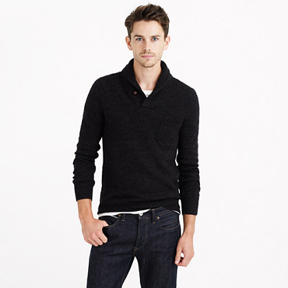 Slim rustic merino elbow-patch sweater with shawl collar