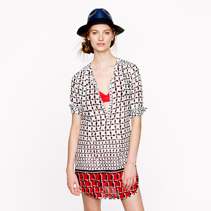 Cotton voile Cubist houndstooth tunic