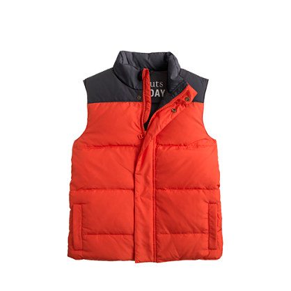 Boys' colorblock puffer vest