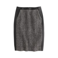 Collection leather and tweed pencil skirt