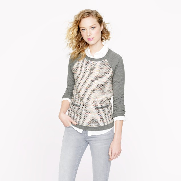 Tweed-front merino sweater in graphite