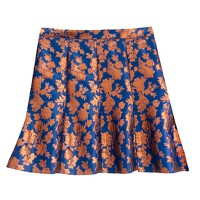 Collection fluted skirt in copper bloom jacquard