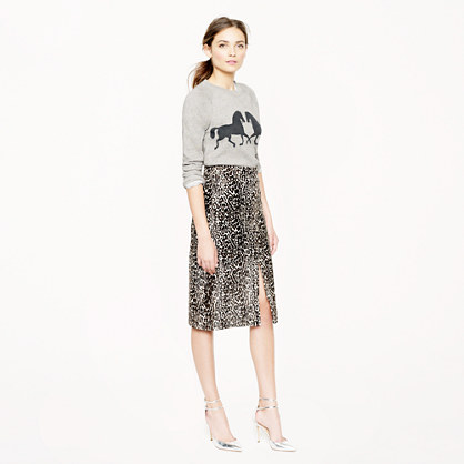 Collection printed calf hair skirt