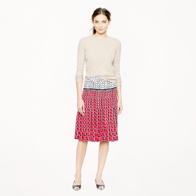 Collection silk skirt in cubist houndstooth