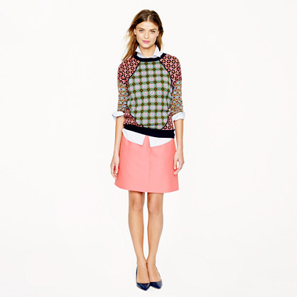 Collection wool-silk A-line skirt