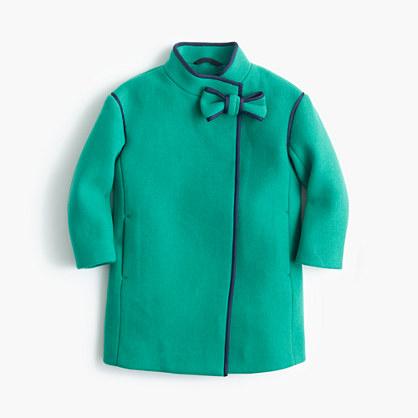 Girls' stadium-cloth bow coat
