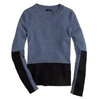 Woven panel sweater in heather atlantic