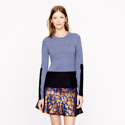 Woven panel sweater in heather atlantic