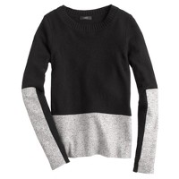 Woven panel sweater in black