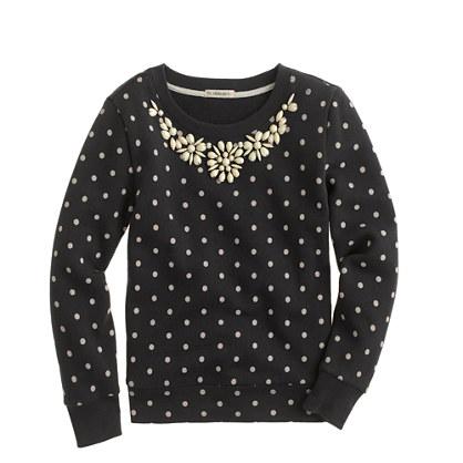 Girls' necklace sweatshirt in dot