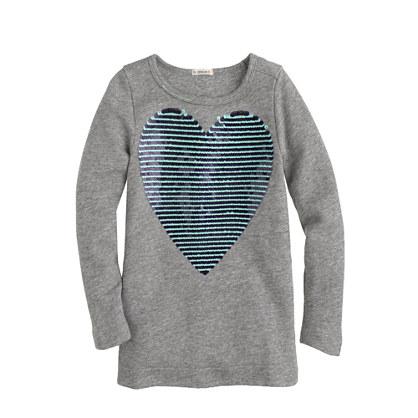 Girls' sequin-stripe heart tunic