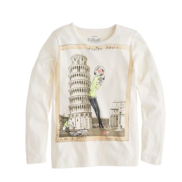 Girls' long-sleeve Olive in Pisa tee