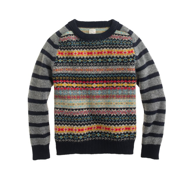 Boys' arm-stripe Fair Isle sweater