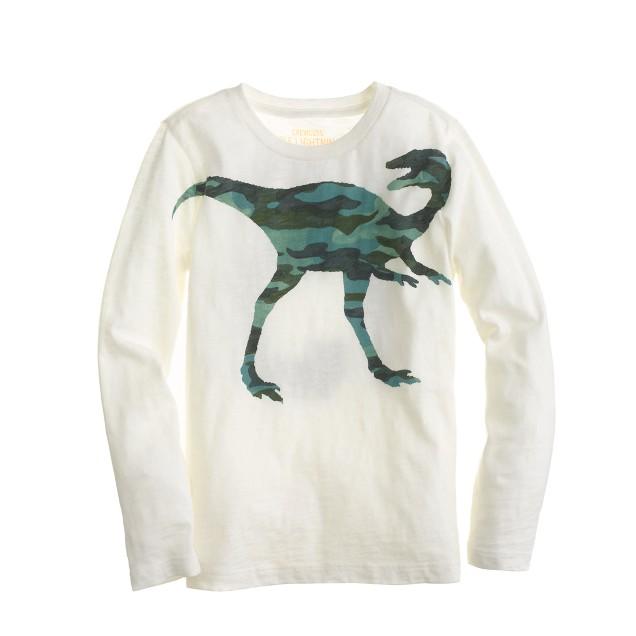 Boys' long-sleeve camo dinosaur tee
