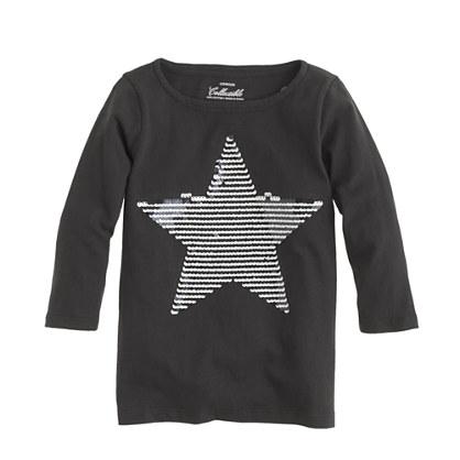 Girls' sequin-stripe star tee