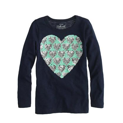 Girls' long-sleeve sequin hearts tee
