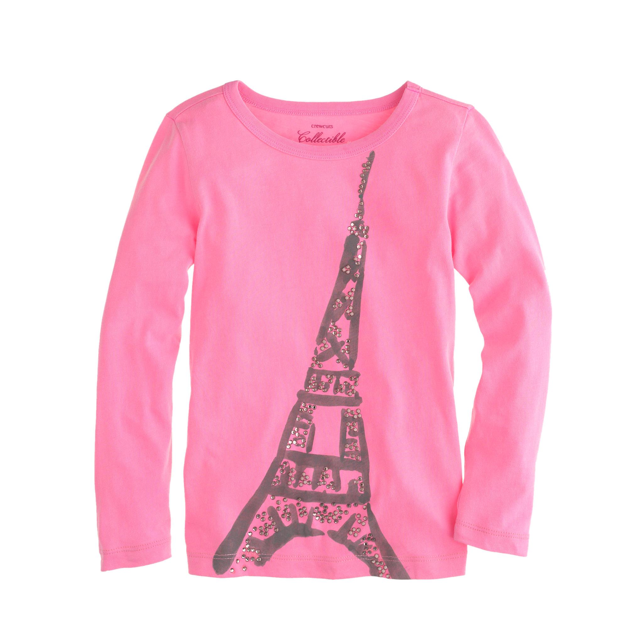 Girls' long-sleeve Eiffel Tower T-shirt : | J.Crew
