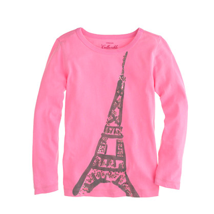 Girls' long-sleeve Eiffel Tower T-shirt