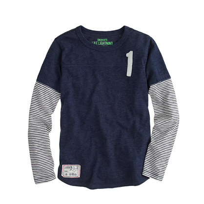 Boys' long-sleeve double-layer #1 tee