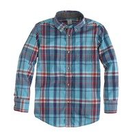 Boys' Secret Wash shirt in turquoise plaid