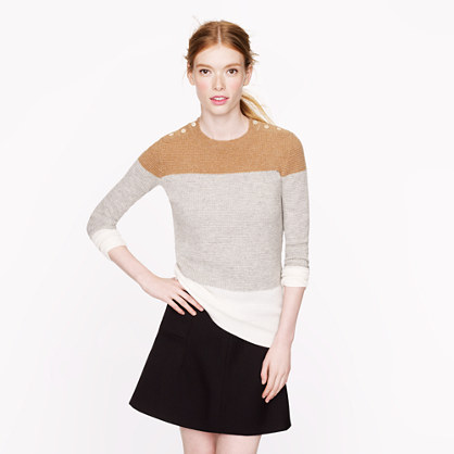 Collection cashmere button waffle sweater