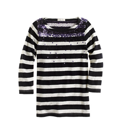 Girls' falling sequins stripe tee