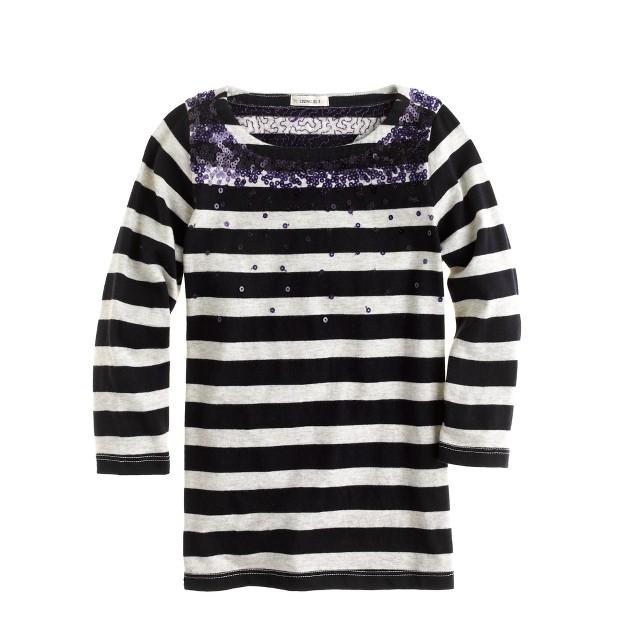 Girls' falling sequins stripe tee