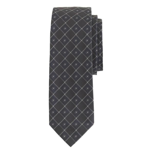 English silk tie in navy stars