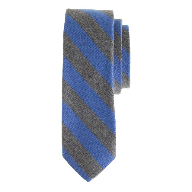 English wool-silk tie in old-school stripe