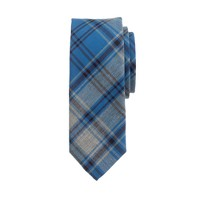 Cotton tie in porter blue tartan