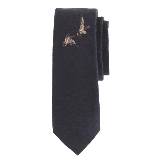 English wool-silk tie in embroidered ducks