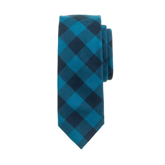 Oxford cloth tie in warm mineral gingham