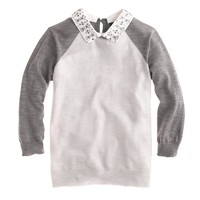 Merino Tippi baseball sweater with removable collar