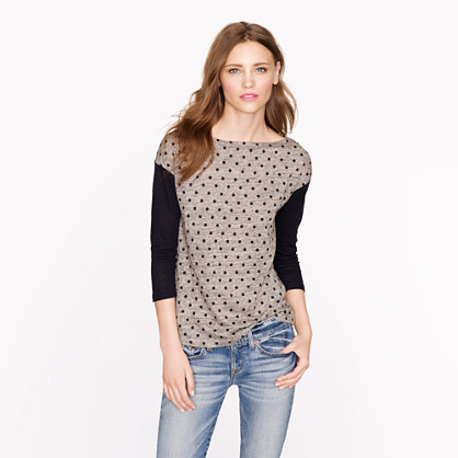 Linen colorblock dot top